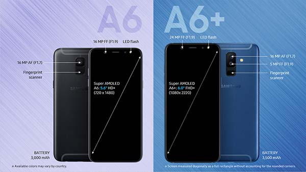 Complete details Samsung galaxy A6 and A6+